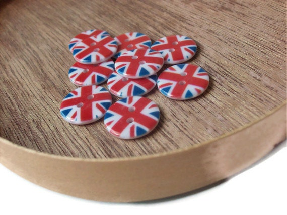 London Union Jack Flag Buttons - Novelty (18mm) 3/4 inch - TEN Buttons