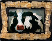 Cyber Monday Sale 20% Off Mixed Media Framed Print Cow from Original Painting by Catherine Darling