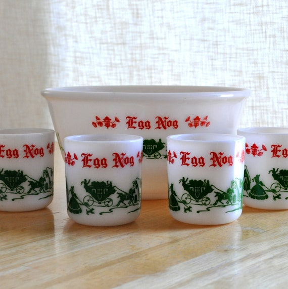 vintage egg nog serving set