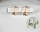PARIS EIFFEL TOWER Custom Map porcelain men Cufflinks locations wedding engagement place groom groomsmen birthday anniversary gift for him