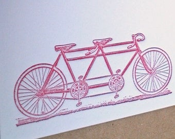 Tandem Bike Letterpress Stationery in Red - 5 pack