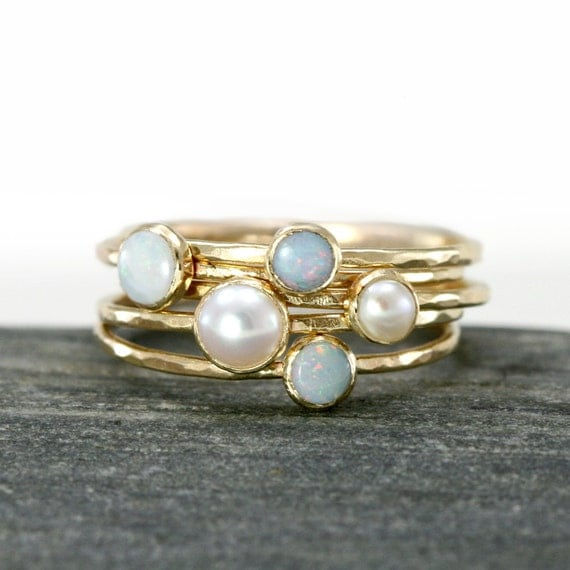 Opal And Akoya Pearl Stacking Rings In 14k By