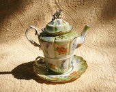 Yellow Rose and Lavender Porcelain Tea for One