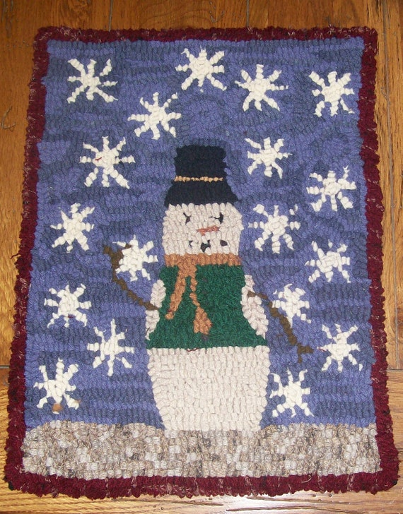 Snowy Day Snowman Primitive Rug Hooking Kit