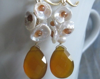 Keshi Bloom Design- Earrings, Pearl Cluster, Chalcedony, Hessonite Garnet, Gold Filled