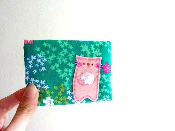 Gift For Girl Cat ID Card Case, Business Card Case, Card Case - Kitty in the garden