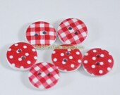 Wooden Buttons - Chic Red Swiss Dots Check Collection (6 in a set, D1.8CM)