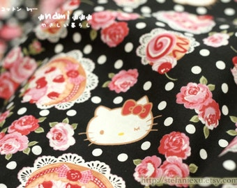 Shabby Chic Rose Garden Afternoon Tea, Hello Kitty and White Polka Dots On Black-Japanese Cotton Fabric(Fat Quarter)