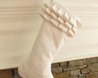 White Linen Christmas Stocking Ruffle Top