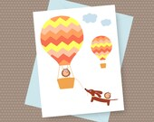 Dachshund Dog Card -Doxie and Owls Hot Air Balloon Ride with Envelope and Sticker - Doxie Note Card