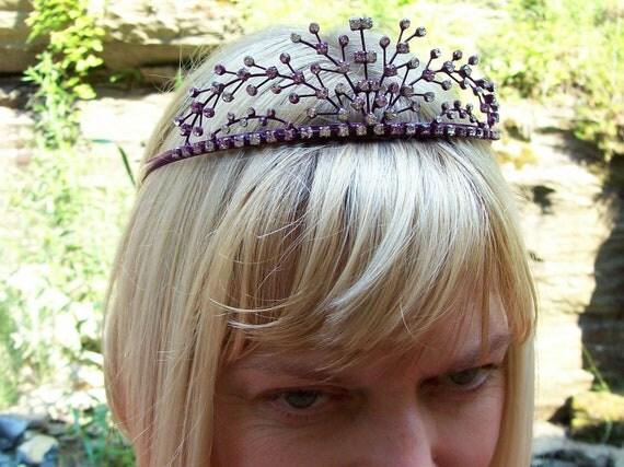 Purple tiara bridal lavender rhinestone formal burlesque show girl aubergine glamour