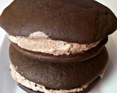 Vegan Valentine Chocolate Whoopee Pie Gift with Chocolate Frosting