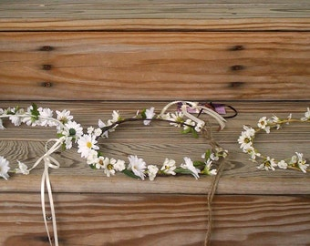 Bridal Hair Wreath party summer Floral Crown Woodland Wedding Halo accessories -Molly-Daisy Hairpiece blessingway Hippie flower girl halo