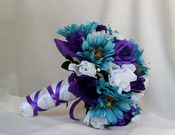 Items similar to teal bridal accessories bouquet purple - Purple and teal centerpieces ...