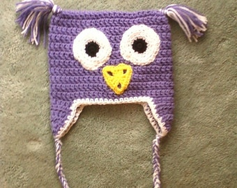 Crocheted Children's Owl Earflap Hat - Lavender