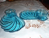 Vintage Pair of Sky Blue Glasss Tray Plate and Cups Four Piece Set