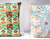 """VINTAGE SCARF PILLOW Cover Maryland & Native American, Decorative Throw Cushion, Eco Chic Upcycled Home Decor 21"""" x 21"""""""