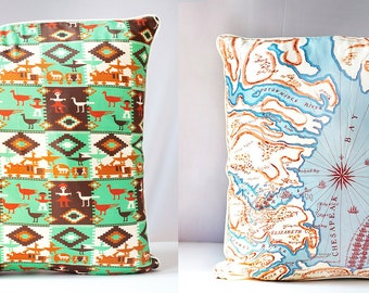 """VINTAGE SCARF PILLOW Cover Maryland & Native American Design, Decorative Throw Cushion, Eco Chic, Upcycled, Home Decor 21"""" x 21"""""""