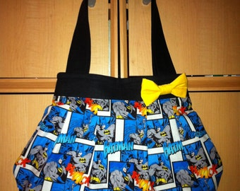 Batman Print Pleated Purse with Yellow Bow