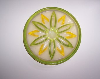 Mod Lucite Trivet Lemon and Lime Acrylic Flower Hippie Era