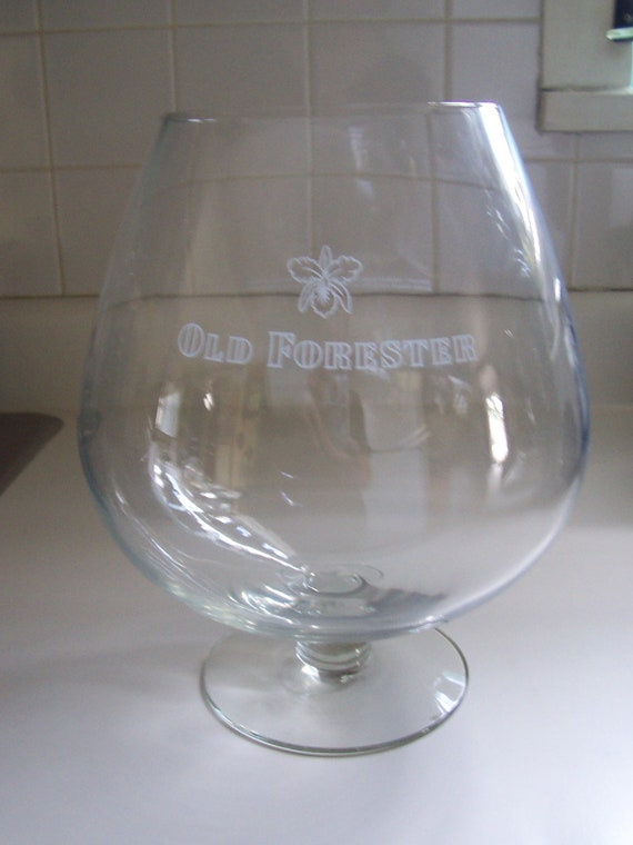 Huge Glass Bowl Brandy Snifter Old Forester Kentucky By Msink