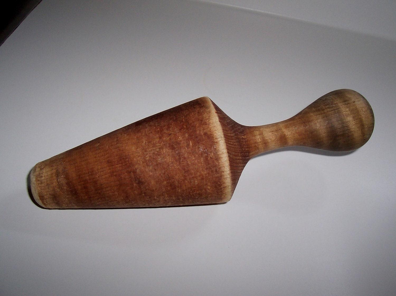 antique wood pestle food grinder masher kitchen utensil tool