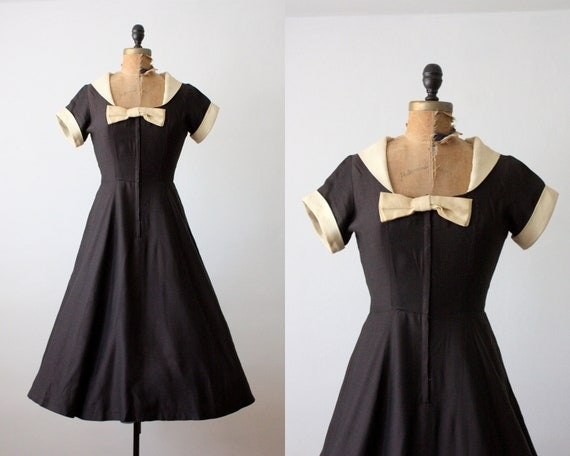 50s dress - vintage 1950s black bow dress - 50s party dress