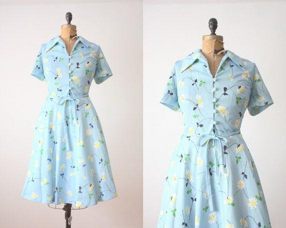 daisy print dress - vintage 1970's daisy print day dress