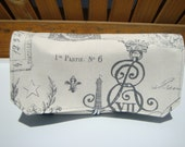 Coupon Organizer / Budget Organizer Holder  - Attaches to Your Shopping Cart -  Paris Eiffel Tower / Gray and Cream  Decor Fabric