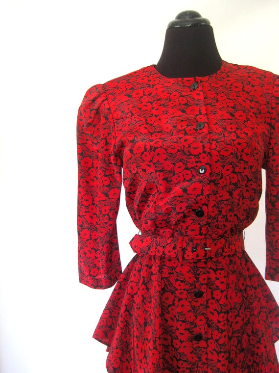 Vintage 1980s RUFFLED Dress Extra Small Xs S CRIMSON Red Floral Ruffles Gun Moll Rockabilly Old Hollywood