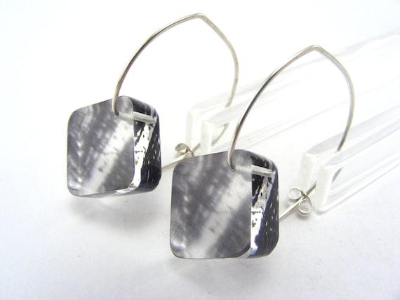 Winter Wonderland Earrings Black and White Trees, Diamond Shape Handmade Dangle Acrylic