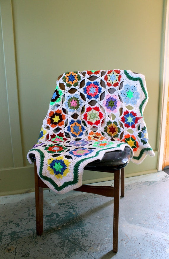Unique & Colorful Granny Square Afghan (Sale)