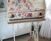 Vintage 1800's - 1910 Upcycled Desk - Entryway Cupboard - Studio Organizer - Vintage Pink Floral - So Charming - So One of a Kind