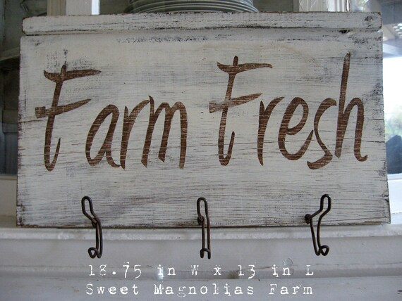 """Reserved 4 Susan Farmhouse Sign Hang Rack """"Farm Fresh"""" - Handpainted - Vintage Wire Coat Hooks - Upcycled Wood..Pure Farmhouse Charm"""