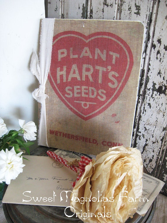 Vintage Feedsack Journal - Harts Seeds - Farmhouse Chic - Diary - Perfection for Scrapbook or Bible Journal or Wedding Guest Book