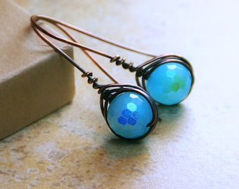 Blue Moon ~ Copper Wire Wrapped Herringbone AB Blue Czech Glass Beaded Earrings - Copper Jewelry - Gifts for her