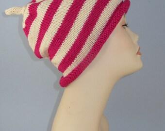 Instant Digital File PDF Download Knitting Pattern - Simple Stripe Roll Brim Topknot Slouch Hat