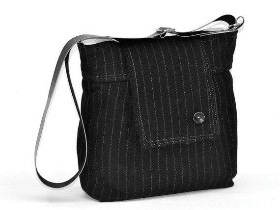 LAST  ONE  Ready to ship / Amy wool Black and White striped. French Shoulder Bag