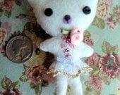 Tiny White Felt Kitty Pin