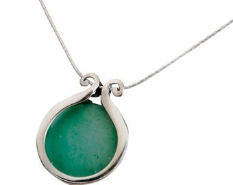 Roman Glass necklace on silver