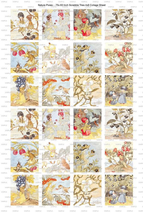 Vintage Berry Flower Fairy Pixie Collage Scrabble Tile Digital Image Sheet