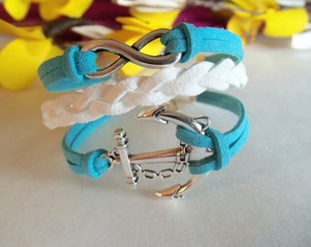 Infinity and anchor bracelet, infinity leather bracelet, infinity karma bracelet, anchor leather bracelet, Made in the USA