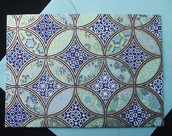 4 Bar Blank Note Cards - Yuzen Overlapping Circles - (Set of 10)