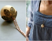 Wooden Acorn Necklace - Antiqued Copper, Wood, Brass