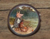 Beatrix Potter HOMESICK PIG Cuff Links or Tie Tack or Ring or Pendant or Pin