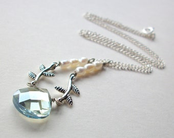 Blue briolette necklace, mystic blue faceted crystal teardrop, branches and pearls necklace, silver chain simple jewelry