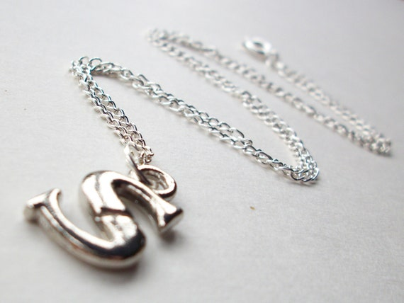 Initial S Necklace letter S jewelry silver S pendant for woman or man on silverplated chain or cord personalized simple jewelry men women