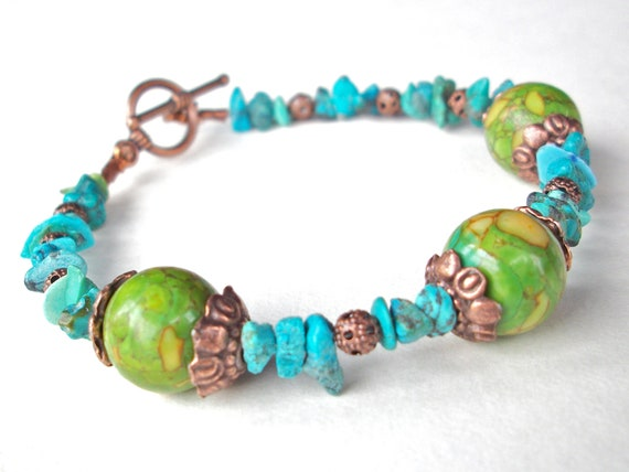 Turquoise bracelet, blue and green mosaic turquoise gemstone bracelet with copper beads and toggle clasp boho southwest