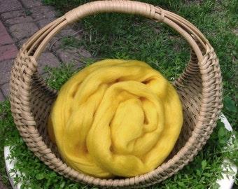 Merino Wool Roving, Lemon Yellow, 4 ounces