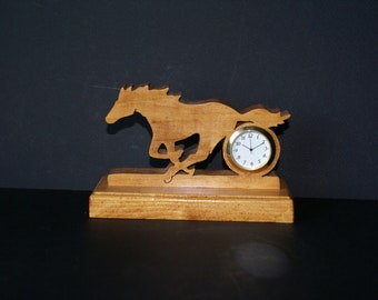 Wild Mustang Running Wood Scroll Saw Desk Clock